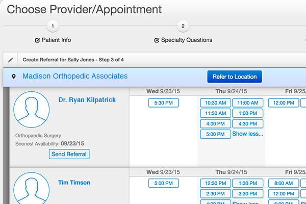 appointment scheduling screenshot